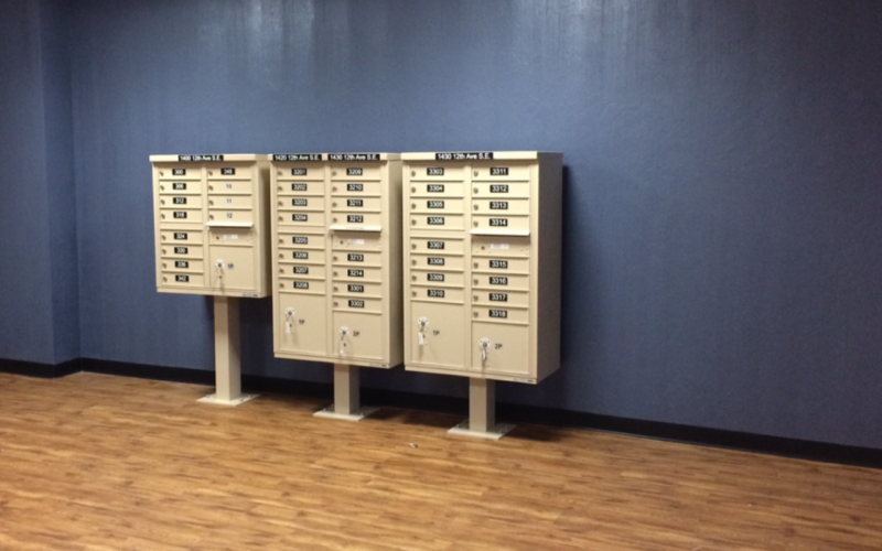 Mailboxes in Lobby at East Village Condos Norman OKC
