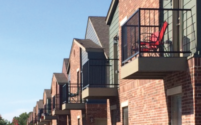 East Village condos and townhome balconies Norman OKC